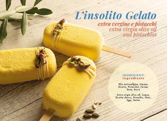 L'insolito gelato, olio d'oliva e pistacchi